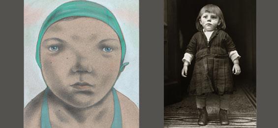 Kinderporträts gegenübergestellt: Fotografien von August Sander und Illustrationen von Ingrid Godon