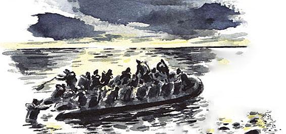 Illustration von Dan Williams aus Khaled Hosseini Am Abend vor dem Meer