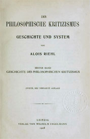 Alois Riehl Phil Kritizismus COVER