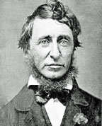 Portrait by Benjamin D. Maxham (daguerreotype), black and white of Henry David Thoreau in June 1856. The writer-collar post a beard and is dressed in a black frock coat, a white shirt and a black bow tie.