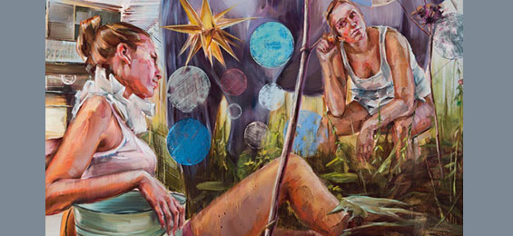 Ermüdende Dauerdestruktion. Malerei von Justine Otto im Zehntspeicher in Gartow