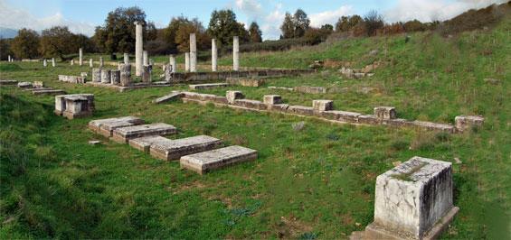 Megalopolis. Eine griechische Stadt in Arkadien. Die Stoa Myropolis.